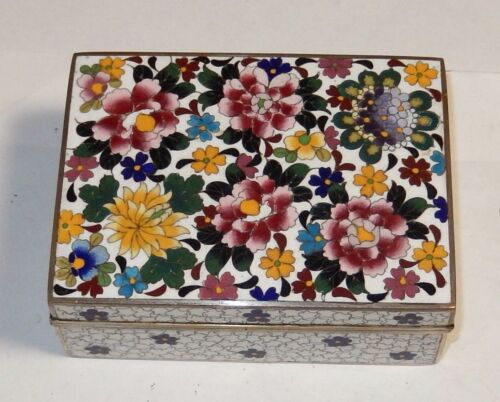 INABA FLORAL BIRD CLOISONNE WHITE ENAMEL SIGNED OLD BOX