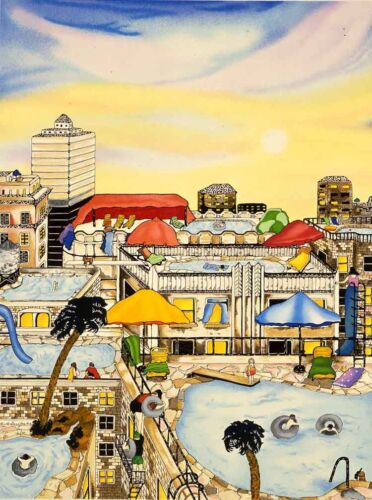 """Linnea Pergola - """"Summer in the City"""", serigraph on hand-made paper"""