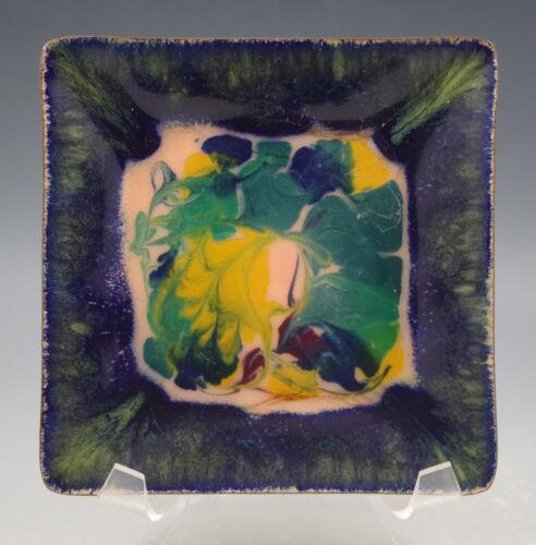 MID CENTURY MODERN JAMES SIMPSON ENAMEL ON COPPER SQUARE PLATE -SIGNED