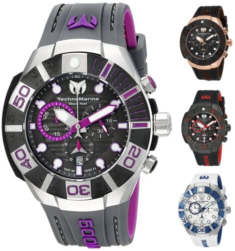 Technomarine Men's Black Reef 500M Chronograph 45mm Watch - Choice of Color