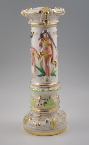 VINTAGE  CAPODIMONTE ITALY FIGURAL NAKED WOMAN -EDEN LAMP BASE -MARKED