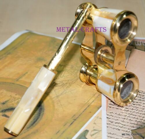 CLASSIC ANTIQUE BRASS BINOCULAR - VINTAGE OPERA THEATER GLASSES MOTHER OF PEARL