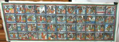 ETHIOPIAN PEOPLE SCENE ACRYLIC ON WAX CLOTH PAINTING SIGNED