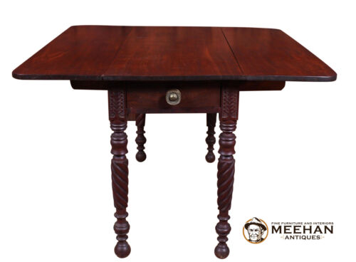 1820's Antique Drop Leaf Rope Leg Mahogany Table Brass Pull