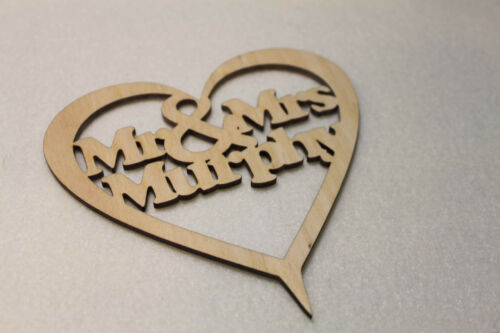 CakeTopper Custom Personalised Mr & Mrs Wedding Gift  Wooden Heart With Names