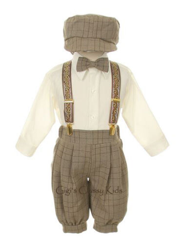 New Baby Toddler Boys Beige Brown Ivory Knickers Vintage Suit Set Outfit Easter
