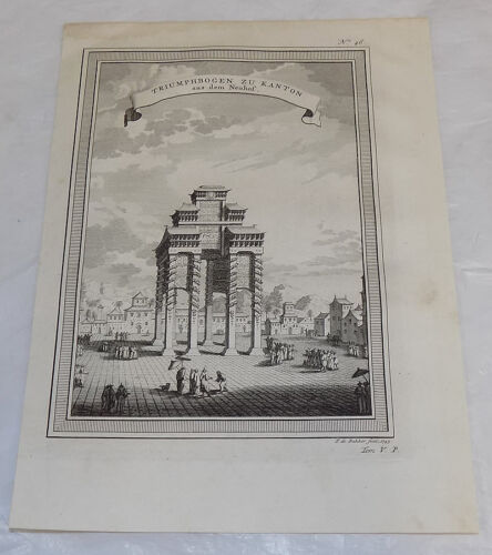 1749 Antique Print///TRIUMPHAL ARCH TO CANTON, FROM THE NEUHOF, CHINA