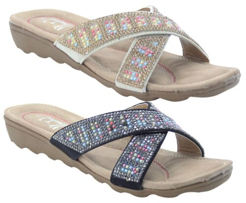 Ladies Slip on Mules Cushioned Beaded Crossover Strap Women Slider Comfort Shoes