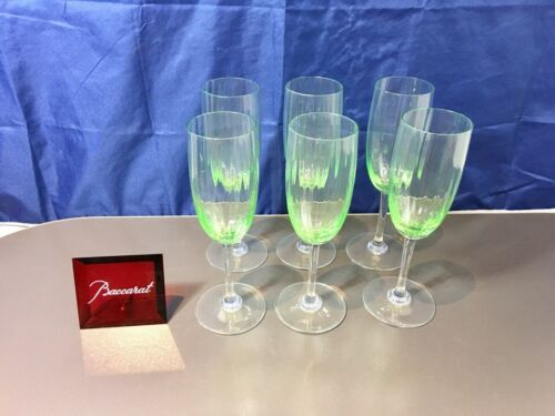 Baccarat Crystal Aquarelle Vert Set 6 Flute A Champagne 156109 NEW IN BOX