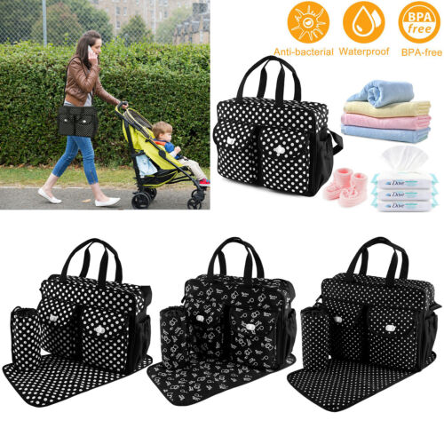 3pcs/set Larger Mummy Bag Baby Diaper Bag Mommy Nappy Changing Handbag Tote BLK