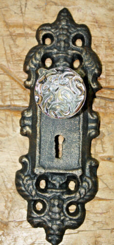 2 Cast Iron VICTORIAN Style Barn Handle Drawer Pull Coat Hook Rack BACK PLATE