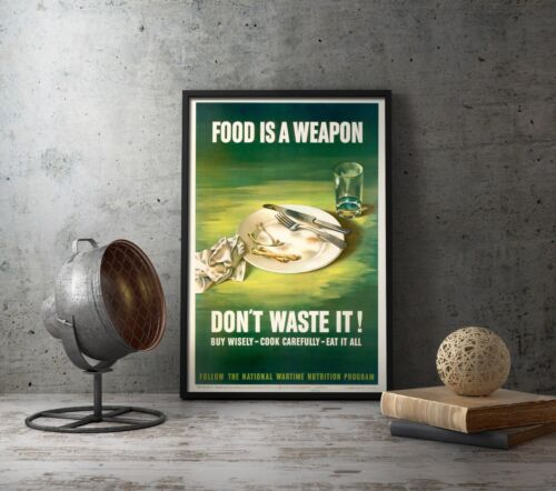 WW2 Food Ration American Propaganda Poster Repro - WWII US Collectibles Military
