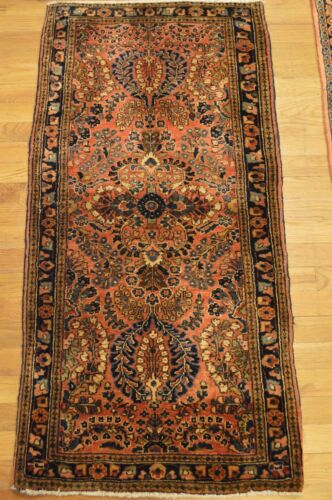 2'x4' Sarouk Genuine Antique Handmade Floral Wool Woven Rug (ca.1850)