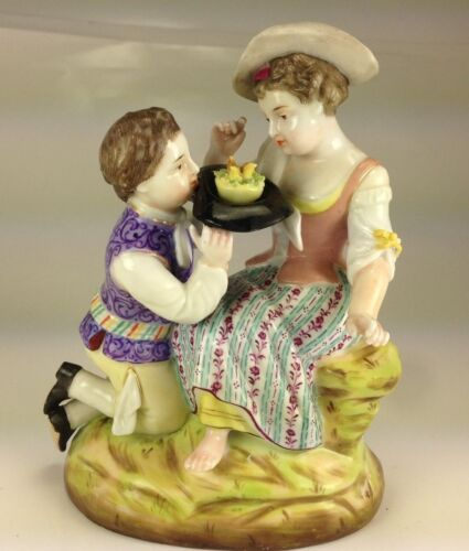 """Antique Early Mark Sitzendorf Porcelain Figurine """" Young Lovers"""""""