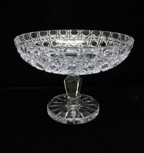 Vintage Heavy Hand Cut German Crystal Pedestal Compote / Candy Dish Bowl