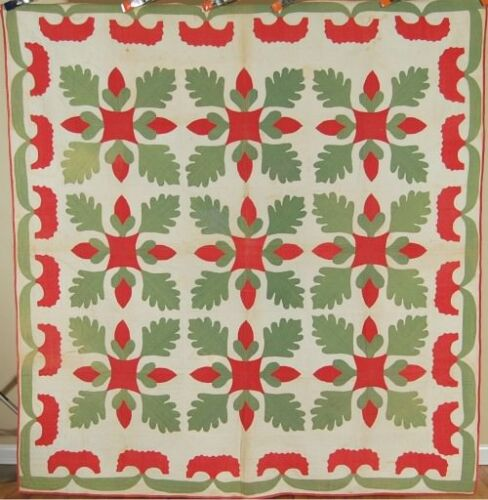 PRE CIVIL WAR 1850's Red & Green Oak Leaf & Acorn Applique Antique Quilt!