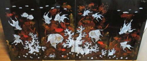CHONG CHI RARE CHINESE HAND PAINTED MOTHER OF PEARL KOI FISH 4 PC LACQUER SCREEN