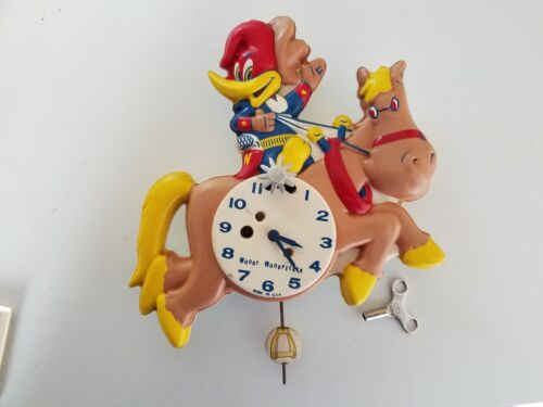 Rare Woody Woodpecker Wesclox  Mid-Century Pendulum Action Wall Clock Model 535