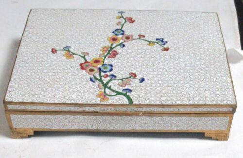 LARGE CHINESE CLOISONNE WHITE ENAMEL FLORAL BLOSSOMS HUMIDOR JAR BOX