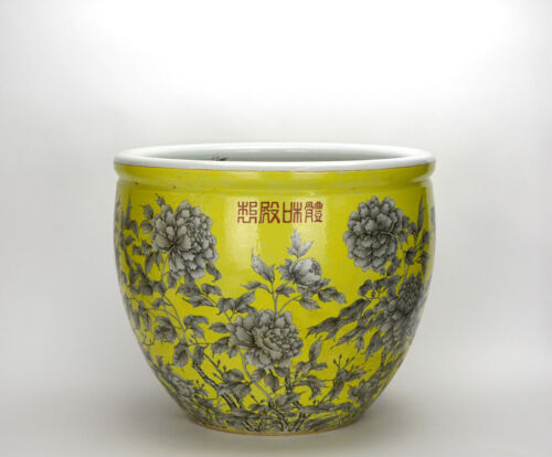 Large 19th c. Chinese Qing Yellow Glazed Black Ink Floral Porcelain Jardiniere