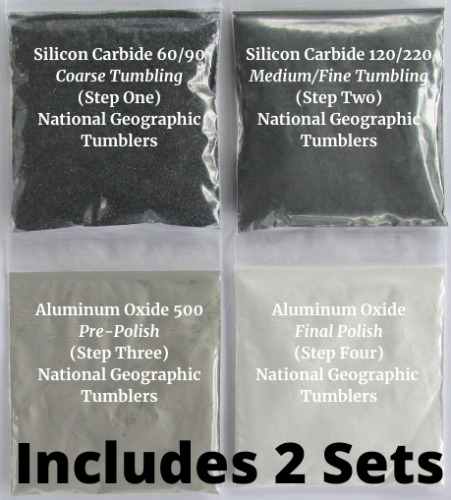 Rock Tumbler National Geographic refill kits,grit & polish,you get (2) Full Sets