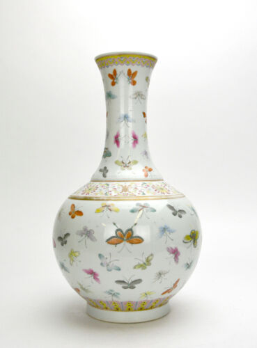 19th c. Chinese Qing Guangxu Famille Rose 100 Butterfly Globular Porcelain Vase