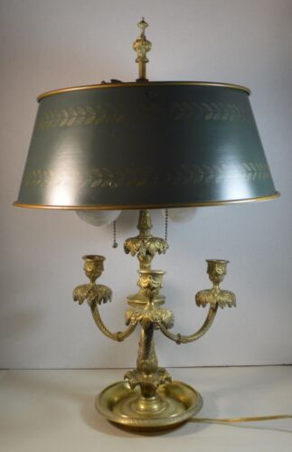 Vintage  Brass Bouillotte Table Lamp with Tole Shade