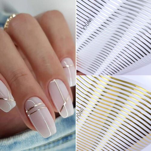 Gold 3D Nail Stickers Geometric Moon Star Stripes Wave Line Nail Art Decoration
