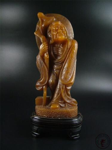 Large Old Chinese Soapstone Carved Statue Tibetan Damo Buddha w/ Stand