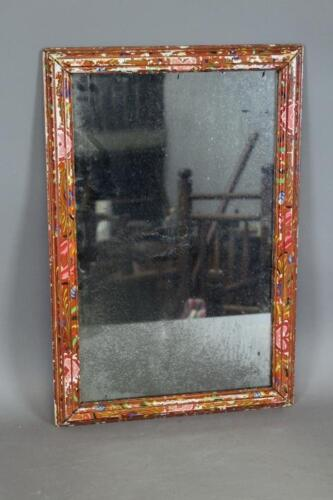 RARE EARLY 19TH C PENNSYLVANIA GERMAN FOLK ART PAINTED MIRROR TULIPS AND HEARTS