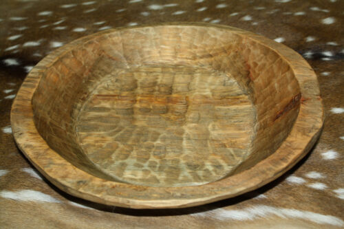 * Carved Wooden Dough Bowl Primitive Wood Trencher Tray Rustic Home Decor 14""