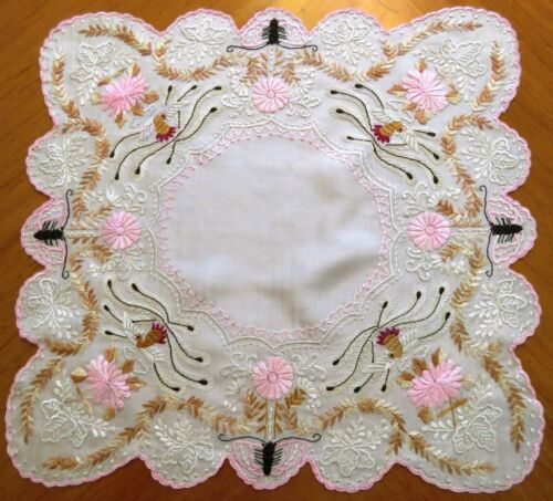 Antique Embroidered Handkerchief Canton Embroidery Silk Hankie Asian Chinese
