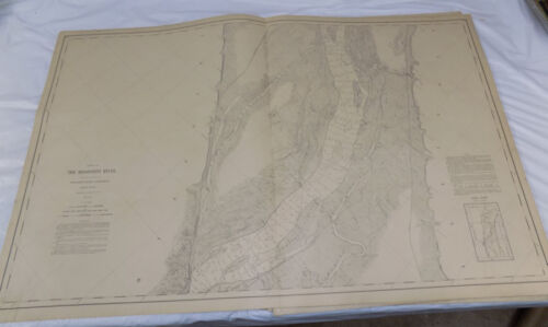 1893 Detailed Map of MISSISSIPPI RIVER/#129/ North of HANNIBAL, MO /24x38""