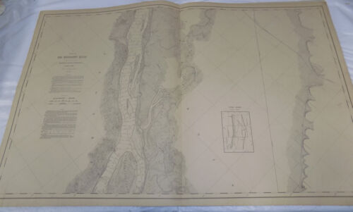 1892 Detailed Map of the MISSISSIPPI RIVER/  South of HANNIBAL, MO  /24x38""