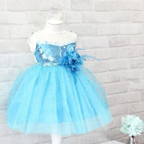 Frozen Elsa Flower Girl Princess Dress Baby Kids Party Bridesmaid Formal Dresses