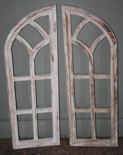 "2 Wooden Antique Style Church WINDOW Frame Shutters Wood Gothic 36"" Shabby"