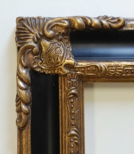 Picture Frame 5x7 Vintage Antique Style Baroque Gold/Black Ornate w GLASS 1238