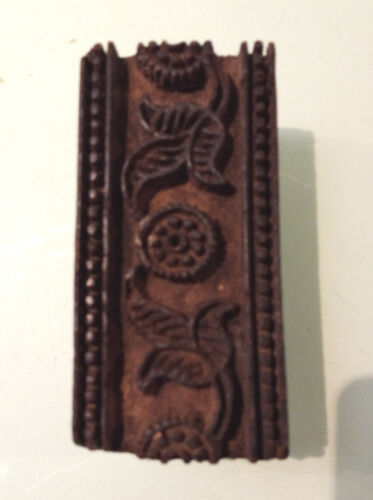 Vintage Wooden Rectangular  Shaped Textile Stamping Block With Floral  Design