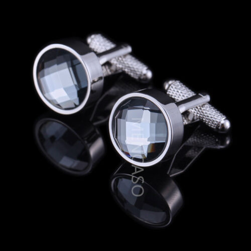 French Classic Men`s Wedding Business Party Crystal Silver Cufflinks Cuff Links