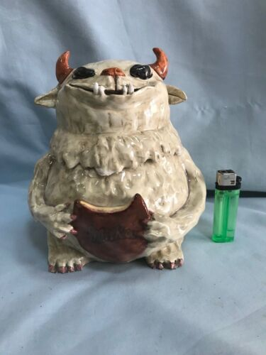 Sculpture jar milka cookies grandfather dragon  ceramic Porcelain Fluffy