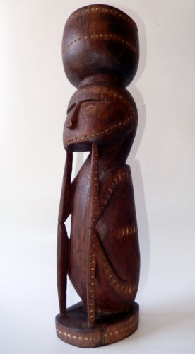 New Guinea Trobriand Islands Massim Carved Figure Betel Nut Mortar Early 20thC