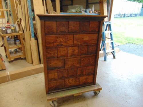ANTIQUE OAK HARDWARE STORE 20 DRAWER BOLT BIN CABINET OR APOTHECARY CABINET