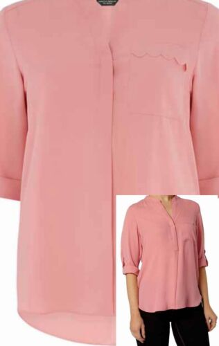 DOROTHY PERKINS  PINK ROLLSLEEVE SHIRT WITH SCALLOP POCKET SIZES 6 to 22