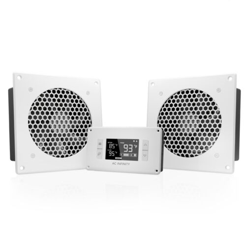 """AIRPLATE T8 White Dual-Fan Cabinet Cooling 6"""" with Thermostat, Home Theater AV"""
