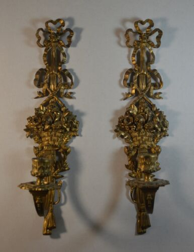 Antique Pair of Gilt Brass Wall Sconces
