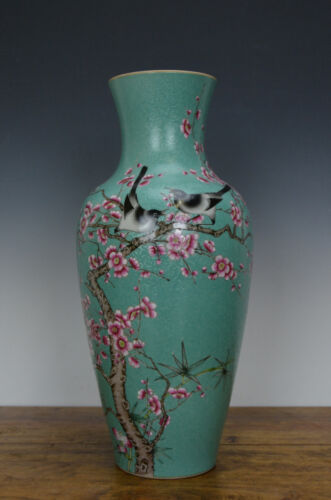 Chinese Famille Rose Carved Ground Porcelain Vase with Bird and Flower