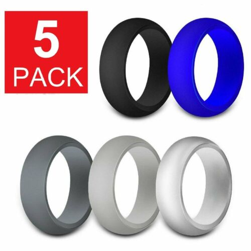 5-Pack Silicone Wedding Engagement Ring Men Women Rubber Band Gym Sport Flexible