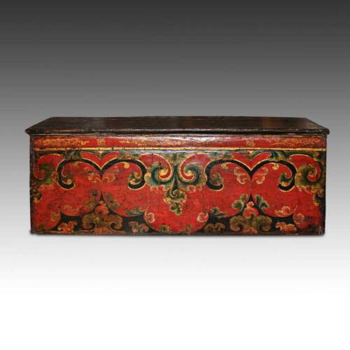RARE ANTIQUE CHOCHE TEA TABLE PAINTED PINE TIBET CHINESE FURNITURE 17TH C.