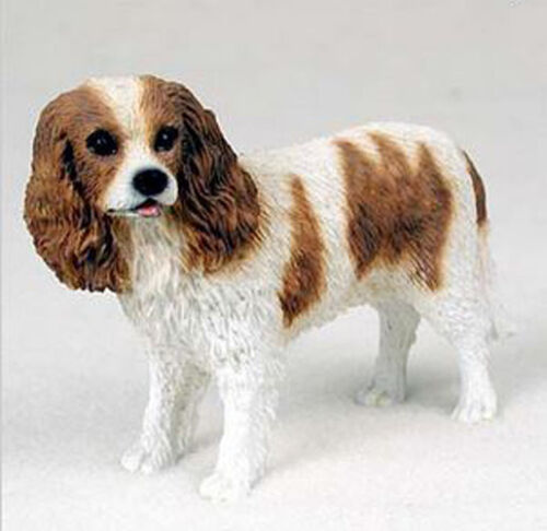 """16/"""" Long Life Size King Charles Spaniel Statue Detailed Sculpture Glass Eyes"""