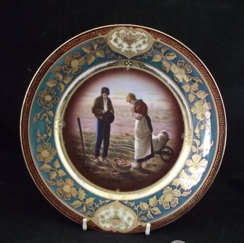 "ANTIQUE ROYAL VIENNA PORCELAIN CABINET  PLATE  "" THE ANGLES "" MILLET"